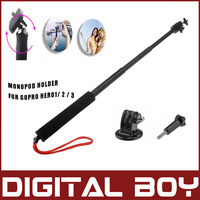 New View For GoPro Hero1/2/3 Extendable Handheld Telescopic Monopod Holder Wand For Camera +Go pro tripod + Screw Free Shipping