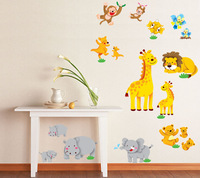 Safari Animal Giraffe Monkey Removable Wall Decals Stickers Art mural for nursery Kids Baby room Home Decoration 50*70 decor