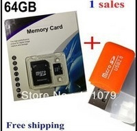 16GB 32GB 64GB Micro SD HC Transflash TF CARD+Free shipping+ Free adapter+ White retail box+Gift card Reader