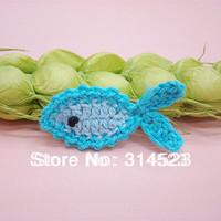 50pcs wholesale cute hand cotton crochet fish flower patch  for kids dress