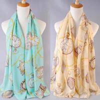 Free shipping! 2013 New design hot Women's fashion clock and chain printed velvet chiffon scarf/shawl! SF255
