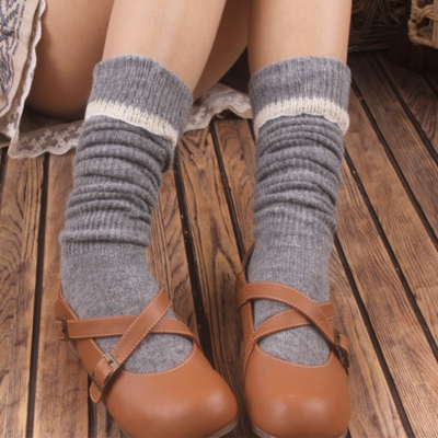 3 double cashmere over-the-knee laciness socks roll up hem cashmere socks vintage socks female(China (Mainland))