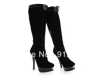 2013 Winter famous brand new fashion boots for women , sexy black nubuck genuine leather boots high heel knee-high boots