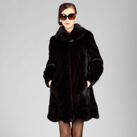 Free shipping Marten tfeel ultra long overcoat women's plus size slim mink fur coat mink