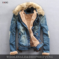 Free Shipping 2013 men's New Winter Fur Collar Wool Denim Jackets coats outwear With Thick Clothes Shirts. high quality