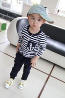 Wholesales Unisex Kids Clothes Set Striped Sport Suit t shirt + Pants Marine Style Kids Clothes Baby Boy Girl Clothing Set