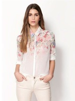 1pcs women fashion gradient flower print  Collar Button chiffon blouse long-sleeved shirt blouse free shipping
