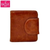 Vintage wax genuine cowhide leather wallet women's purse short design hasp multi card holder