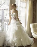free shipping zuhair murad a-line layers of organza lace handmade rosettes beading sash vestidos de novia custom Wedding Dress