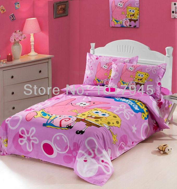 Kids Bedroom 100 Cotton Hello Kitty Queen Size Bedding Comforter Set  Cartoon Spongebob Kids Single Twin Bed Bedding Set Children Boy Girls ...