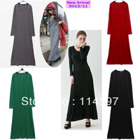 2013 autumn winter European and American Style women one-piece dress sanded cashmere long-sleeve floor length casual dress