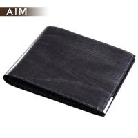Aim male lettering wallet male short design cowhide three fold wallet metal money clip