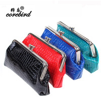 Bird vintage metal clip small coin purse patent leather crocodile pattern wallet small wallet coin case
