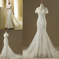 DMW067 Dreamaker short sleeve sweetheart lace mermaid real sample wedding dresses 2014