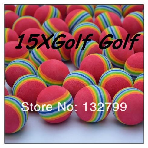 15x Rainbow Stripe FOAM Sponge Golf Balls Swing Practice Training Aids Ball()