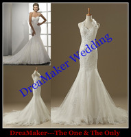 DMW071 Dreamaker removable halter neck real made sample sheath mermaid designers wedding dresses 2014