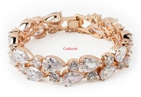 Free Shipping 18K Gold Plated Top Quality Swiss Crystal Bracelet,Lady Fashion Jewelry, Zircon Bracelet