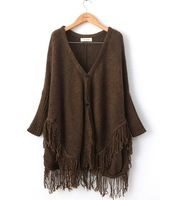 2013 new European and American women's fashion tassel hem loose bat sleeve sweater