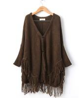 2013 new European and American women's fashion tassel hem loose bat sleeve sweater
