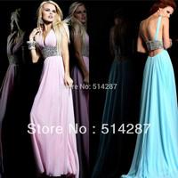 Sexy V Neckline Tank Backless Pleat Cryatl Belt Floor Length Straight Chiffon Prom Dresses 2014 New Arrival Womem Evening Dress