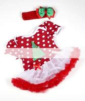 2 Piece Set - Baby Christmas dress Reindeer Red Polka Dots Pettiskirt Bodysuit and Headband 0-18M