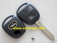 To 2 button remote key shell TOY43 blade with metal logo,  car remote key shell & auto key blanks