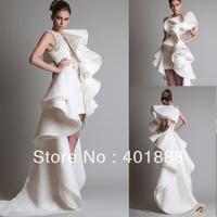 High Neck Beige Organza Satin Fashion 2014 Stunning High-Low Wedding Dress