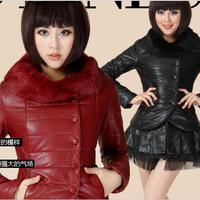 New 2014 Korean Version Large Fur Collar Winter Coat Women's Slim and Medium-long Sections Thickening PU Jacket Plus Size S-XXL