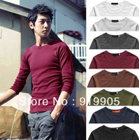 Free shipping 2013 spring and summer new fashion men's super wild solid color cotton long-sleeved T-shirt