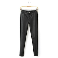 Women's Pants Leather Spliced Trimming Black Pants 2013 New Arrival Free Shipping Whole Sale WKP040