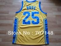 Cheap-Mix Order Simeon high school #25 Derrick Rose Yellow Basketball Jersey