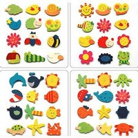 4 sets/lot-Wood Baby Children's Early Learning creative gifts educational toys /magnetic stickers /Safe wooden fridge magnets_In