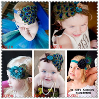 New Fashion Baby Peacock Feather Elastic Headband,Children Head Photographic Props,Baby Hair Bows,FS070+Free Shipping