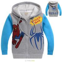 free shipment of 6pcs/lot new 2013 for autumn -summer Spring children jacket,kids car sweatershirt,boys hoodie Spiderman coat