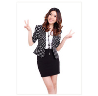 Free shipping 2013 new Korean version of the Slim small suit women's large size black and white dots in the sleeve suit jacket
