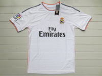 Free shipping soccer jerseys 13/14 best thai quality real madrid home white RONALDO BENZEMA OZIL casillas soccer football jersey