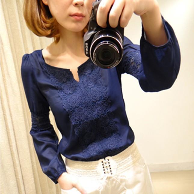 2014 New Promotions Hot Trendy Cozy Women Shirt Wild Slim Fashion Blouse Elegant Cute Long sleeve Lace Patchwork(China (Mainland))