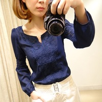 2014 New Promotions Hot Trendy Cozy Women Shirt Wild Slim Fashion Blouse Elegant Cute Long sleeve Lace Patchwork