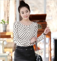 2014 New Promotions Hot Trendy Cozy Women Shirt Wild Slim Fashion Blouse Elegant Cute Long sleeve Chiffon Dot Zipper