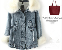 2013 autumn and winter fashion brief vintage women's drawstring large fur collar outerwear denim wadded jacket female