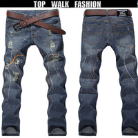 2013 New Arrival JEANS,Men's Jeans , SLIM JEANS MEN ,painted color line Fashion Jeans,Branded jeans Fitness,Denim Jeans