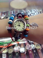 high quality women's bracelet style quartz watch 100% geniune leather band with special leaves pendant freeshipping 10pcs/lot