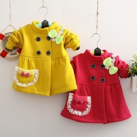 Hot Selling Retail 2015 Fall Children Outerwear Baby Wear Buttons Bow  Coat Warm Velvet Cotton Jacket Baby Girl Outerwear