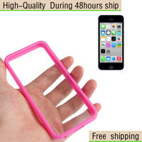 New TPU Frame Plastic Transparent Case for iPhone 5C Free Shipping DHL UPS EMS HKPAM CPAM DE-18