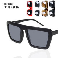 New arrival fashion vintage large box the box personalized sunglasses black sun glasses