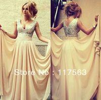 Online Store V-Neck Sleeveless Cream Sequin Draped Floor length Long Chiffon Formal Evening Dress Women Free Shipping WL168