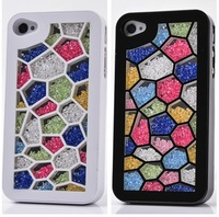 Fashion Luxury Glitter Crystal Rhinestone Rainbow Couple Hard Back Cases Cover For Apple iphone 4 4G 4S Protector Shell 0171
