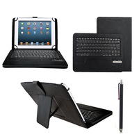 Black ABS Removable Wireless Bluetooth Keyboard PU Leather Case Cover For 9 -10 inch Android / IOS / Windows OS Support