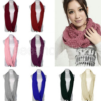 PS143 Fashion Women Girl Solid Long Soft Scarves Autumn Winter Warm 2 Circles Cable Knit Ring Neck Knitted Scarf Shawl