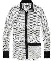Guarantee 100% high quality 2013 autumn winter new fashion male long sleeve casua cotton turn down shirts XXL brand designer